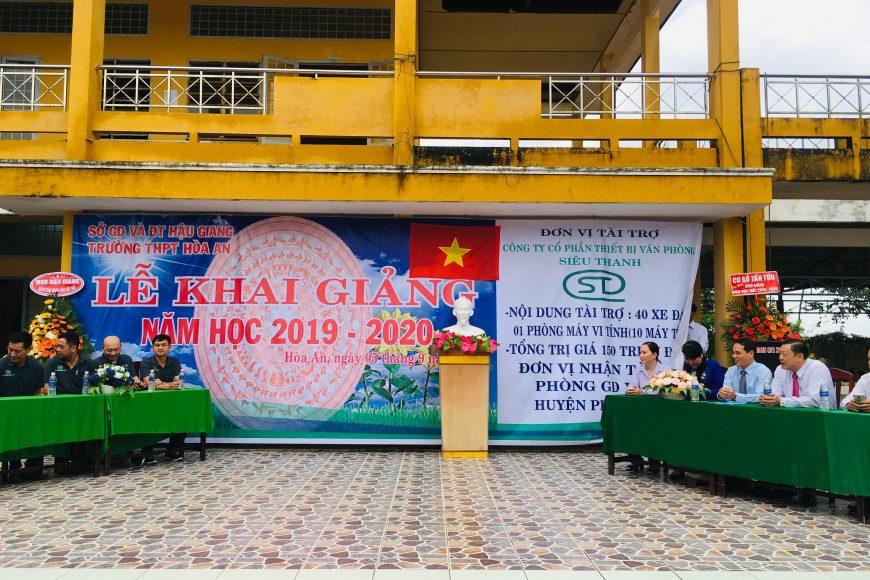 Siêu thanh tài trợ Phòng máy vi tính và xe đạp cho học sinh Trường THPT Hòa An - Hậu Giang